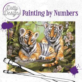 Dotty Designs Dotty Design schilderen op nummer - Tijger 40 x 50 cm