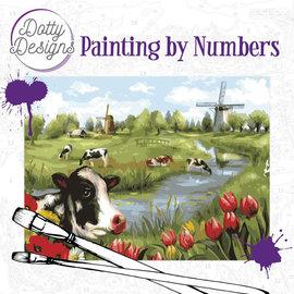Dotty Designs Dotty Design schilderen op nummer - Hollands landschap 40 x 50 cm