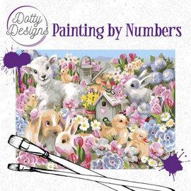 Dotty Designs Dotty Design schilderen op nummer - Baby dieren 40 x 50 cm