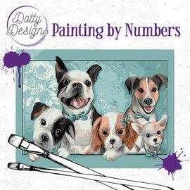 Dotty Designs Dotty Design schilderen op nummer - Honden (40 x 50 cm)