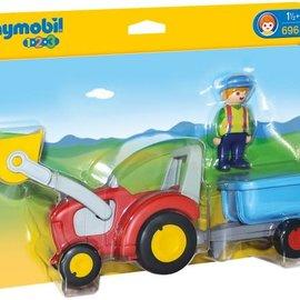Playmobil Playmobil - 1.2.3 Boer met tractor en aanhangwagen (6964)