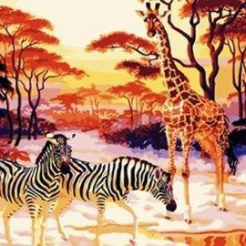 Menga trading Schilderen op nummer - Giraffe en Zebra's (50 x 40 cm)