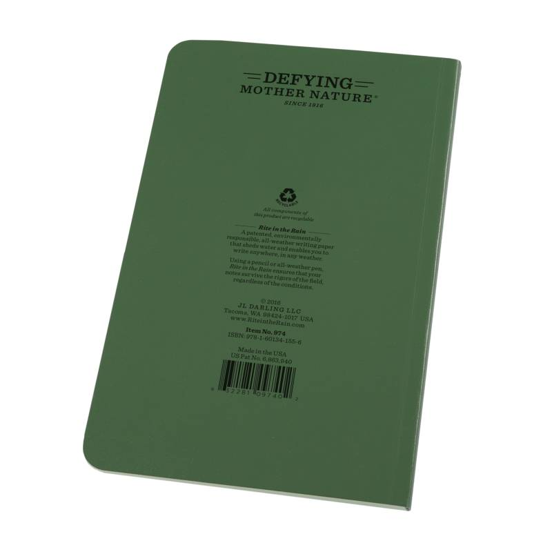 Rite in the Rain Weatherproof Soft Cover Notebook Green (No. 974)
