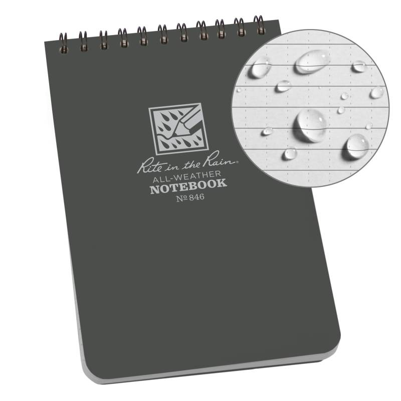 Rite in the Rain Weatherproof Top Spiral Notebook Gray Cover (No. 846)