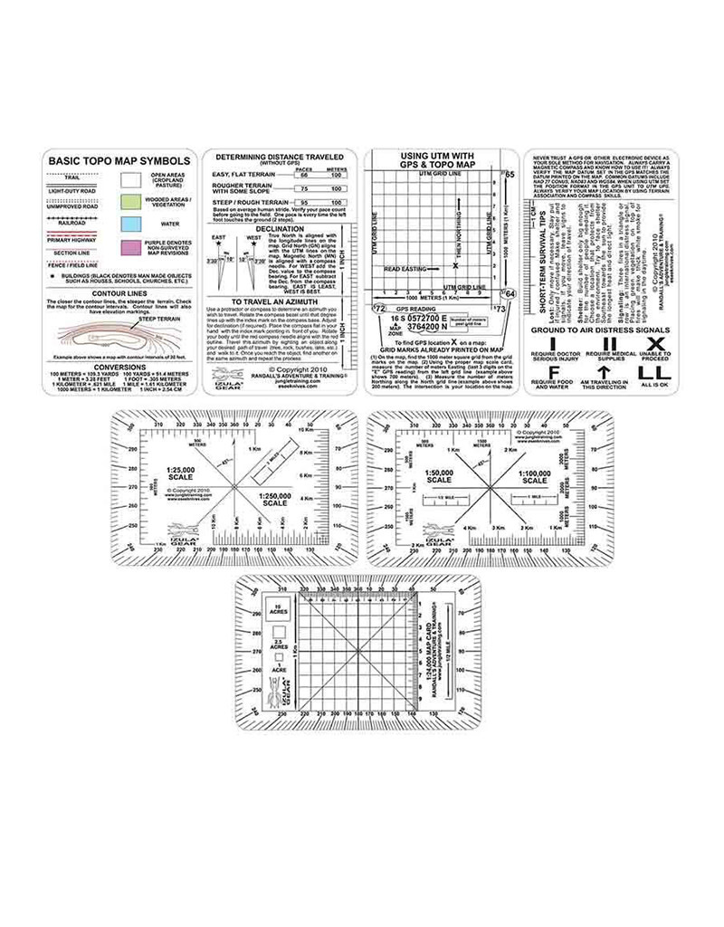 ESEE Plastic 5 card Set for Land Navigation (3 Clear Cards & 2 White Cards) 20MIL