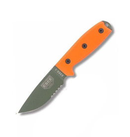 ESEE 3 Serrated Edge OD Blade, Black Sheath, Modified Pommel, Molle Back, Orange