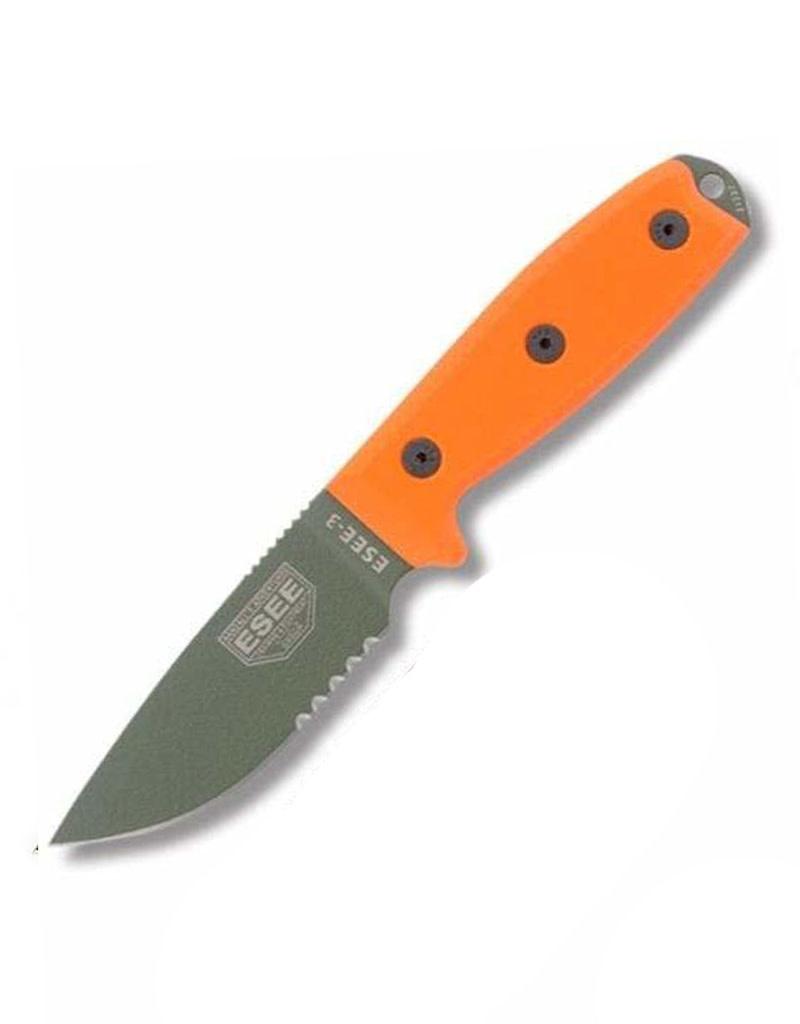 ESEE 3 Serrated Edge OD Blade, Black Sheath, Modified Pommel, Molle Back, Orange