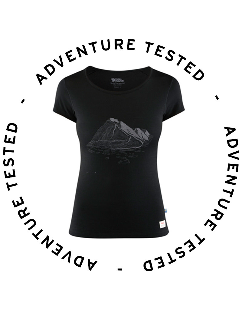 Keb Wool T-shirt Print W Black S - Adventure Tested