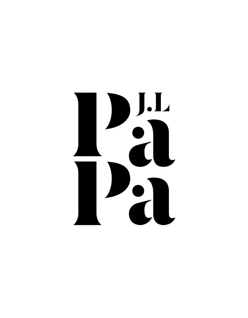 Just Like Papa Black Logo 6cm x 8cm