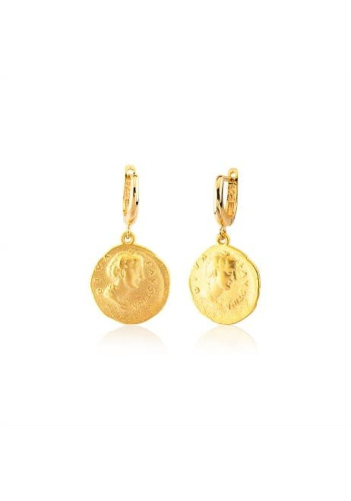 Coin Earring Lou Gold Plated