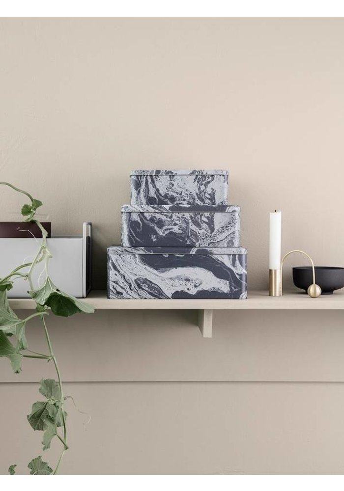 Tin Boxes Marble (Set of 3)