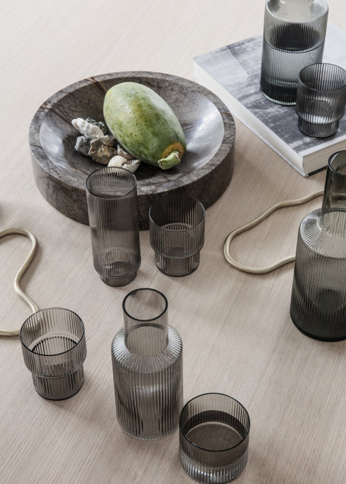 Ferm Living Ripple Long Drinks Set of 4 - Smokey Grey