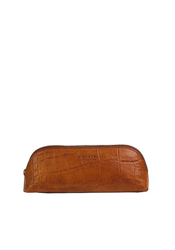 Pencil Case Large Cognac  Croco