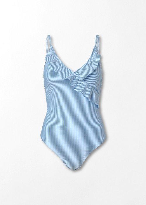 Beck Söndergaard Striba Frill Swimsuit Blue