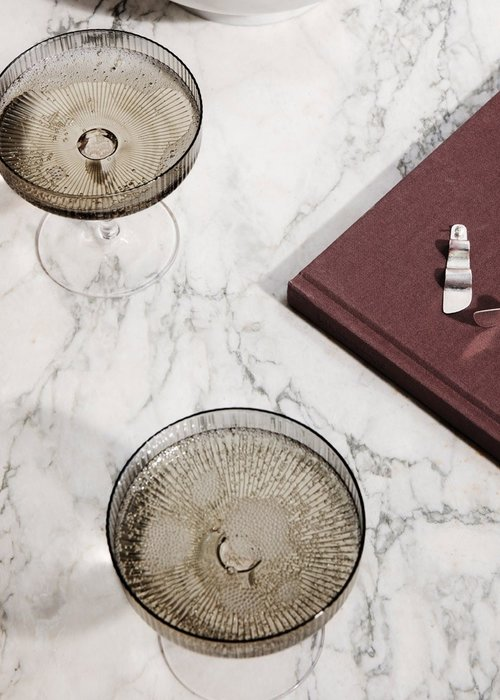Ferm Living Ripple Champagne Saucer Smoked Grey