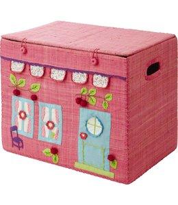 RICE Rice Spielzeugkiste faltbar Girls Pink House