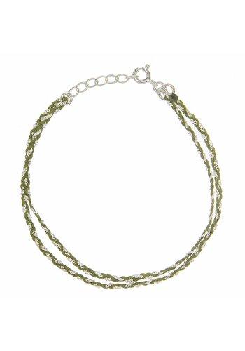 Les Soeurs Rina Double Bracelet Kaki Silver