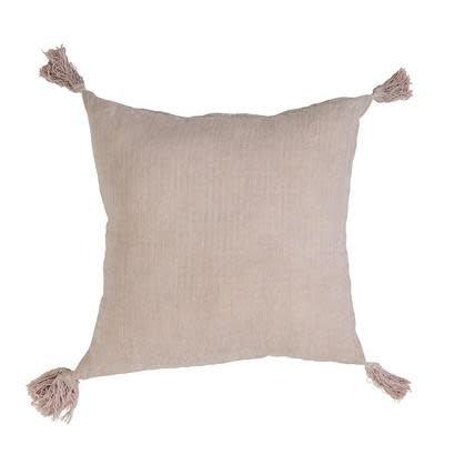 Cushion Tassles Pink Linnen