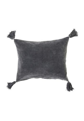 Bloomingville Bloomingville Cushion Tassles Grey Velvet