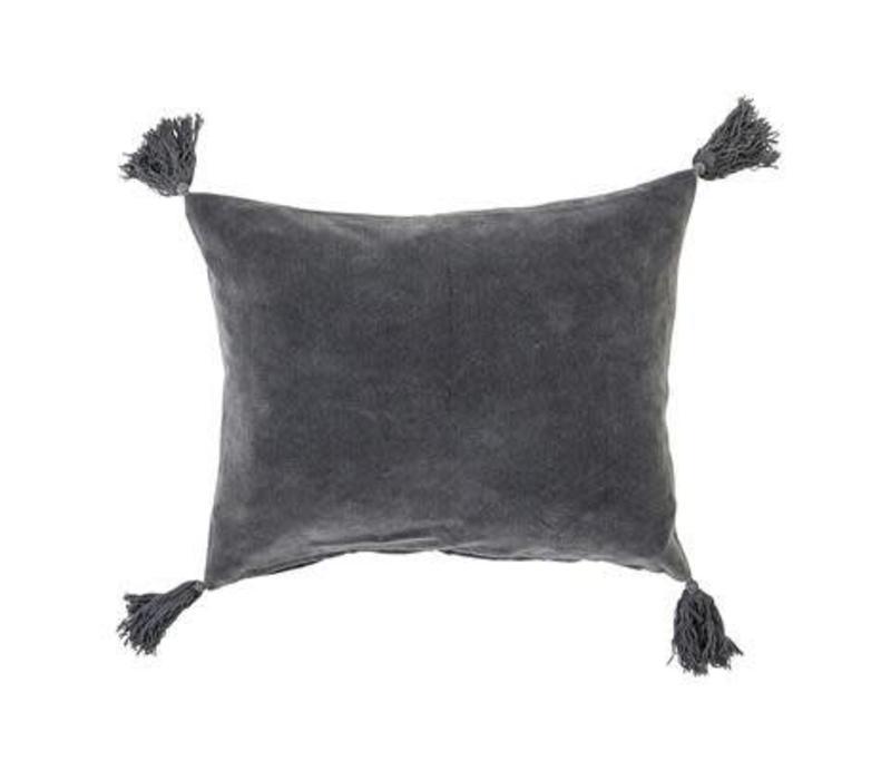 Bloomingville Cushion Tassles Grey Velvet