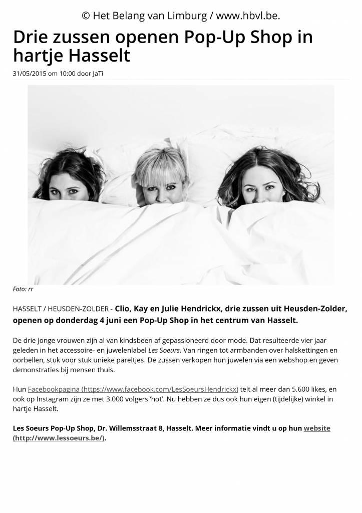 Drie zussen openen Pop-Up Shop in hartje Hasselt