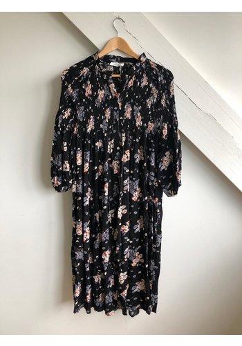 Senes Dress Black/Nude Flowers