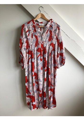 Senes Dress Flowers Red/Grey