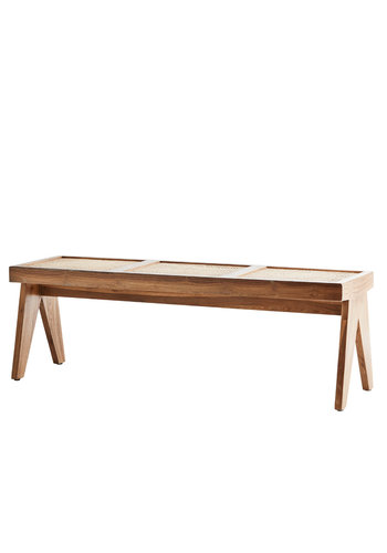 Madam Stoltz Teak Bench With Cane