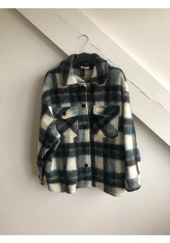 Senes Short Checked Shirt Coat White/Green/Blue