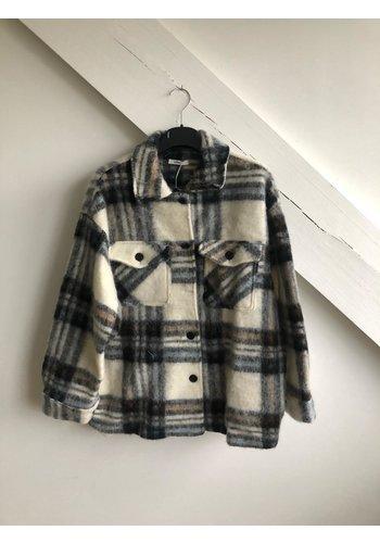 Senes Short Checked Shirt Coat White/Camel/Light BLue