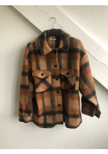 Senes Short Checked Shirt Coat Camel