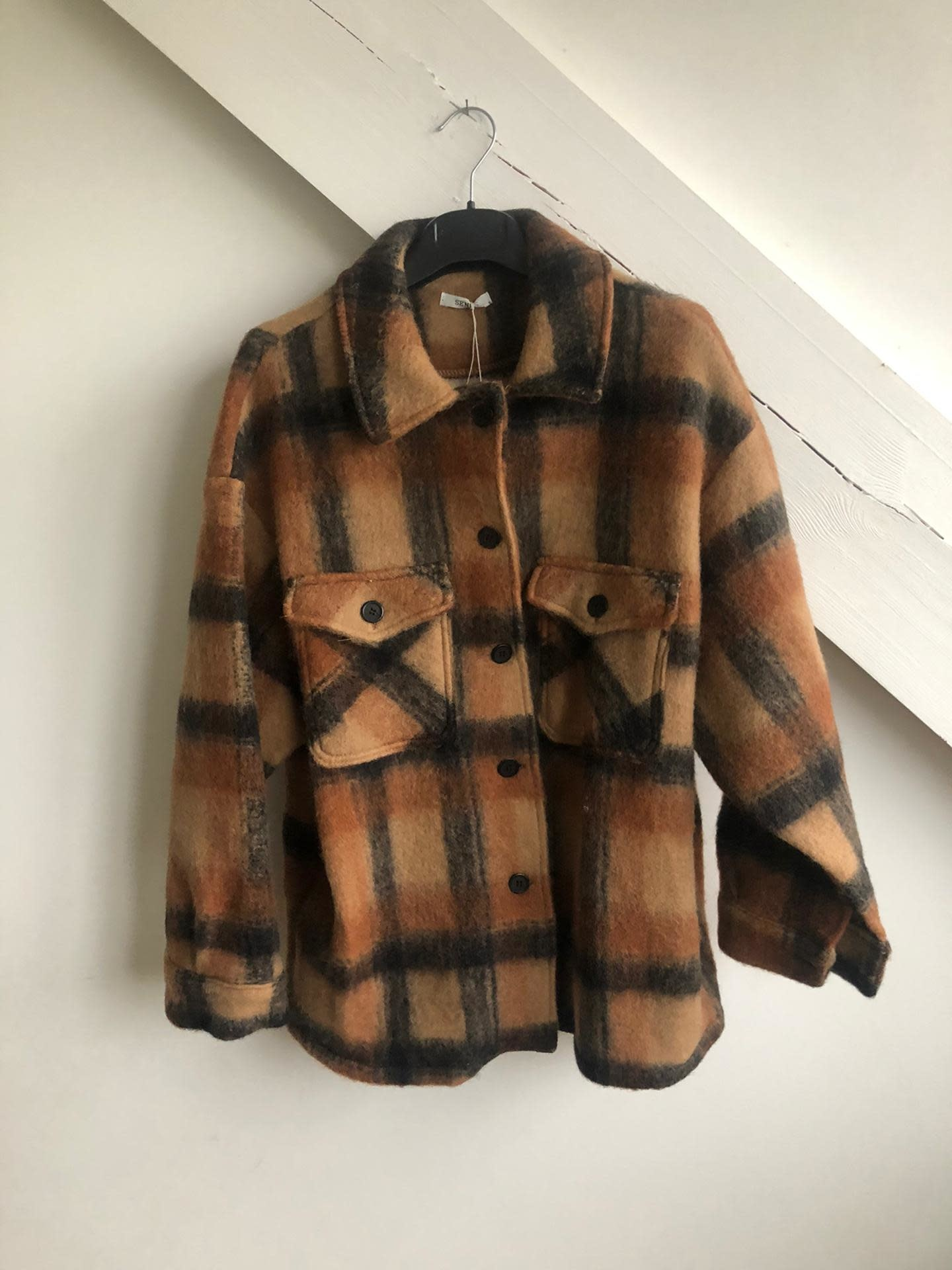 Short Checked Shirt Coat Camel