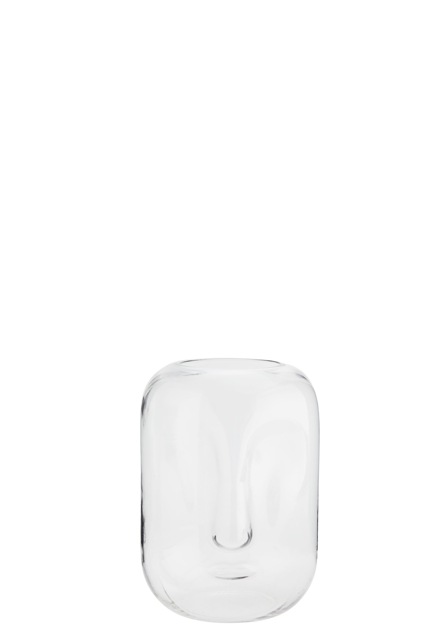Clear Glass Vase With Face