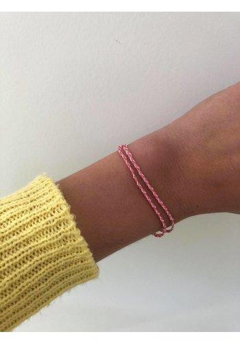 Les Soeurs Rina Double Bracelet Light Pink Silver