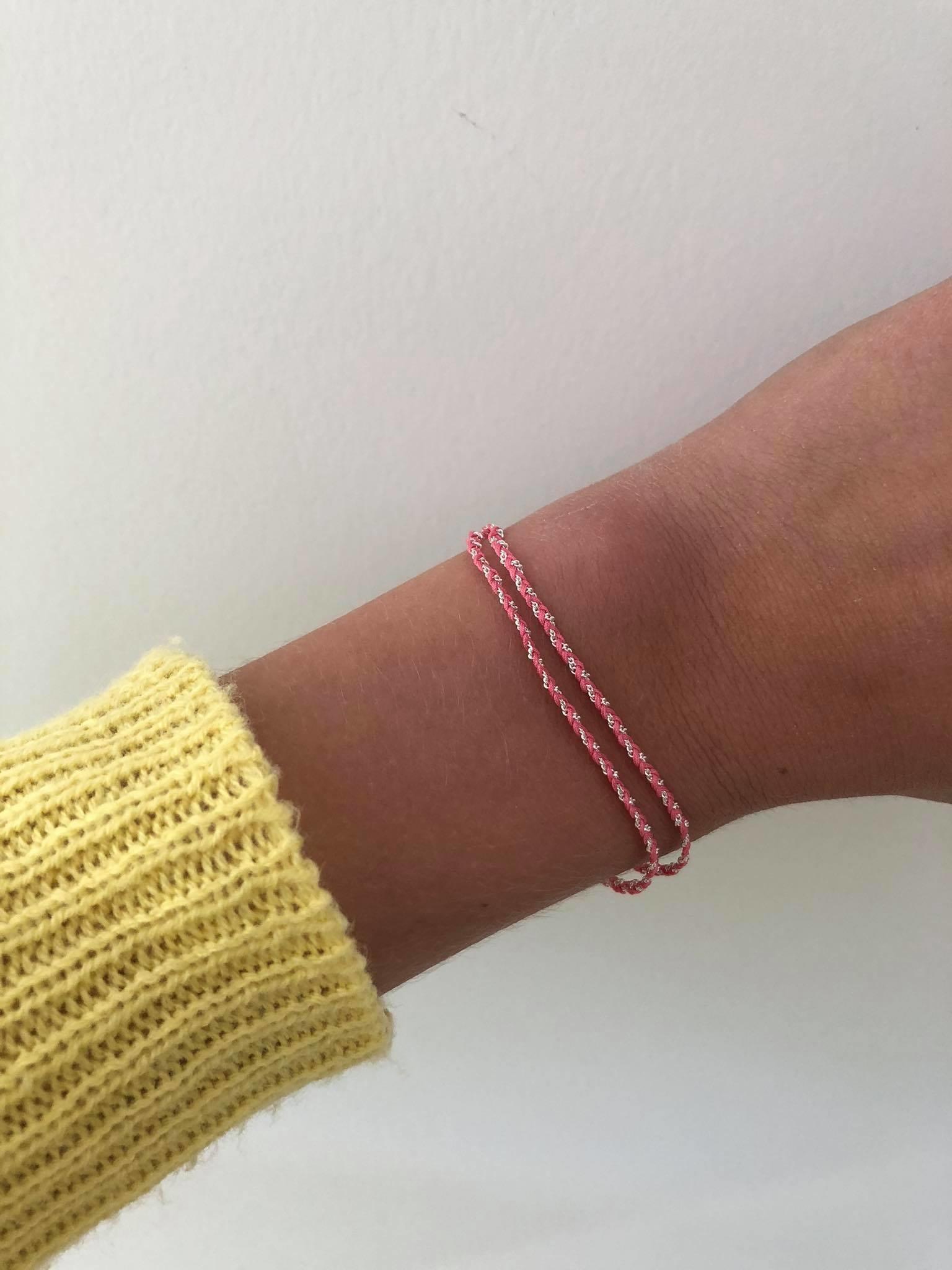 Rina Double Bracelet Light Pink Silver
