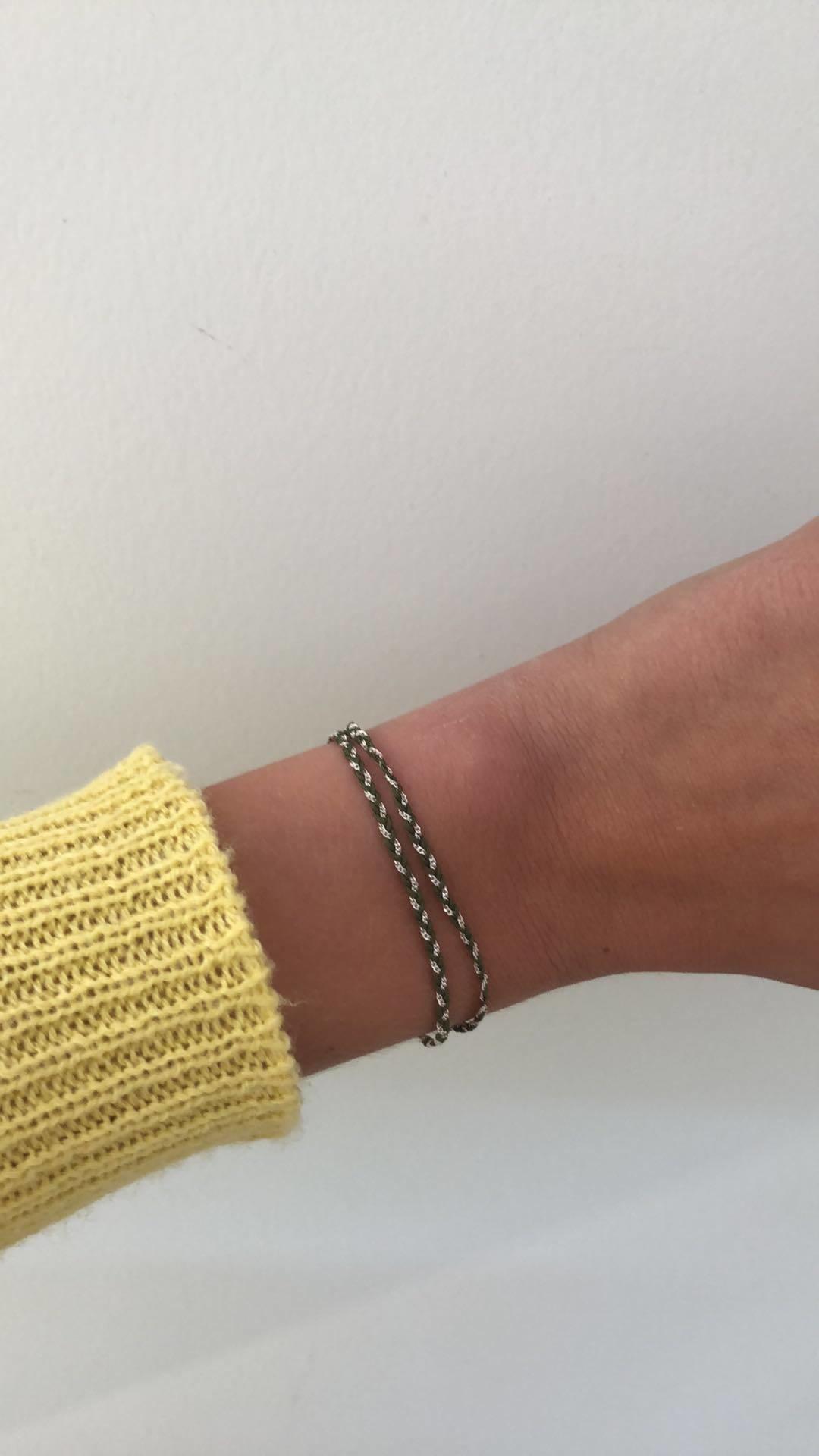Rina Double Bracelet Kaki Silver