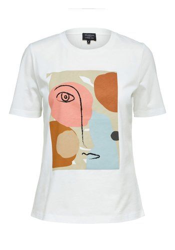 Selected Abstract Face Tee White