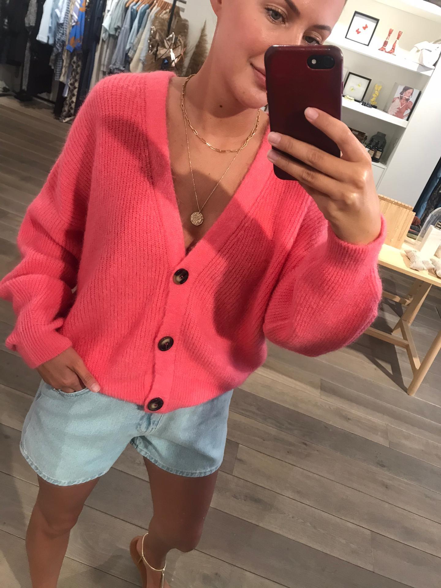 Alex Rib Cardigan Pink