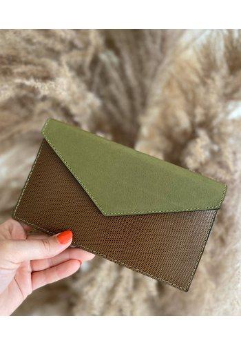 Bolie Leather Clutch Brown/Khaki