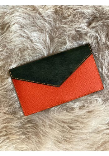 Bolie Leather Clutch Orange/Forest  Green