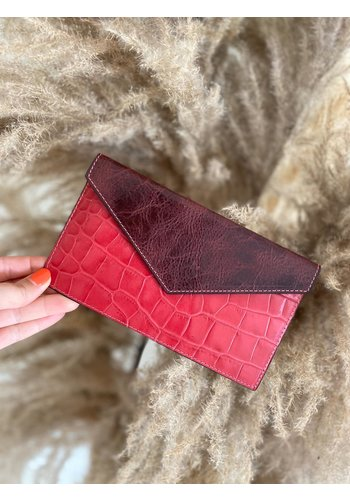 Bolie Leather Clutch Croco Pink/Burgundy