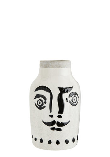 Madam Stoltz Vase with White & Black Face