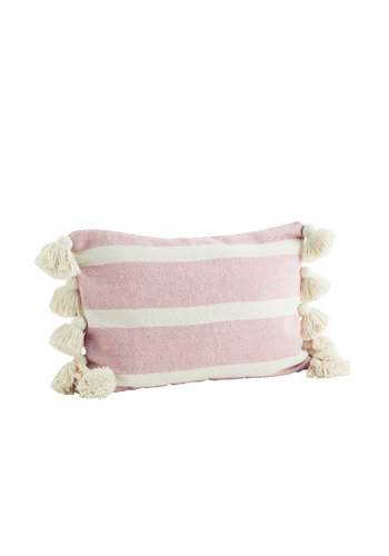 Madam Stoltz Striped Cushion With Tassels