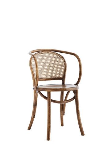Madam Stoltz Wooden Chair With Rattan
