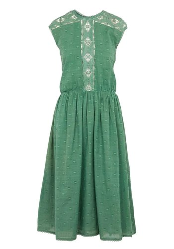 Swildens Bergen Green Jacquard Coton Dress