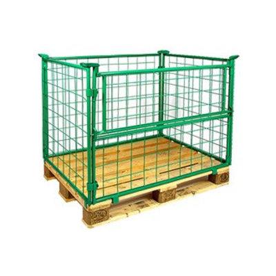 Inklapbare draadopzetwand 1200x800x800mm, groen gelakt, 1 klapraam op de lange zijde
