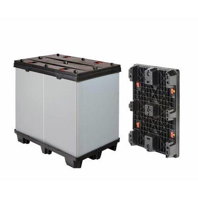 Inklapbare kunststof palletbox 1220x820x1180mm - 3 sledes, afklikbaar