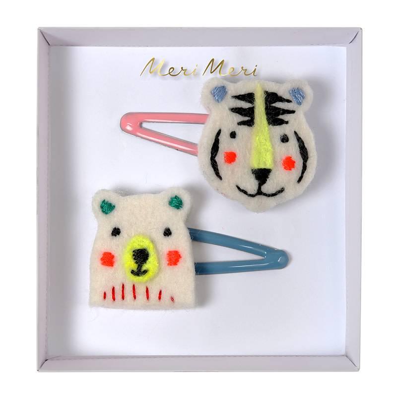Meri Meri Embroidered bear & tiger hair clips