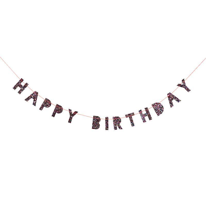 Meri Meri Coloured glitter happy birthday mini garland