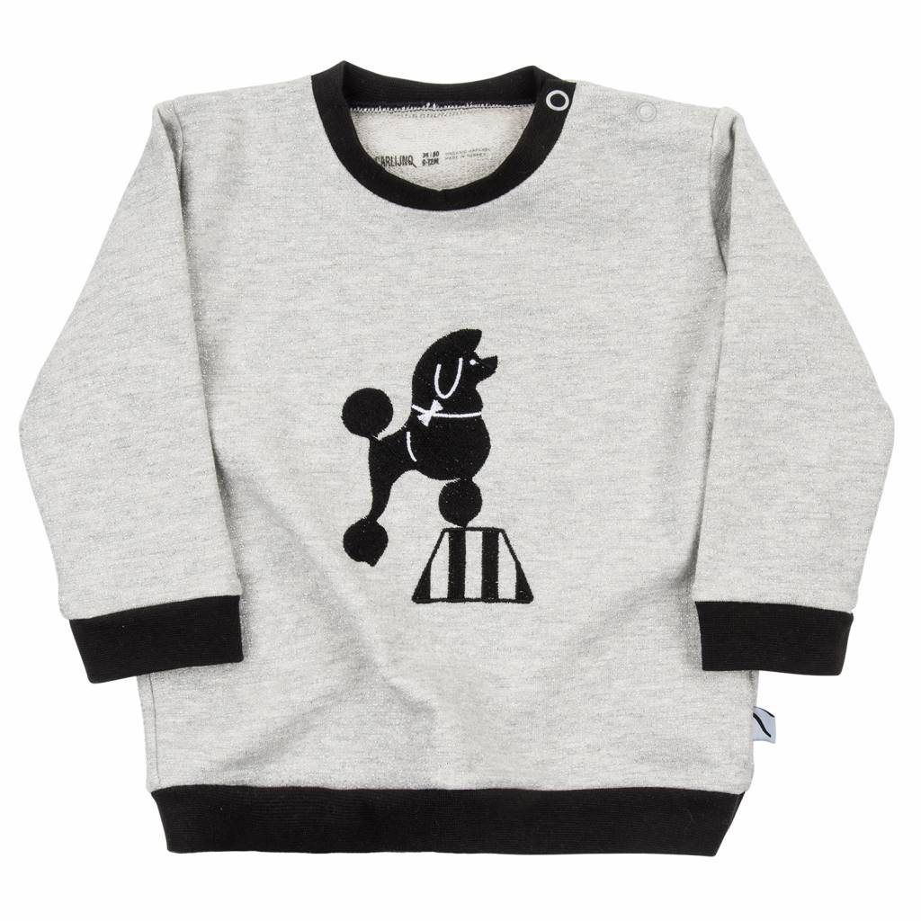 CarlijnQ sweater with embroidery on front poodle